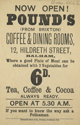 Advert for Pound's Coffee & Dining Rooms